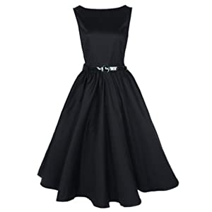 Classic 50s Audrey Hepburn Boat Neck Black Swing Retro Vintage Dress (M)