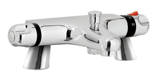 Ultra Reef Pillar Mounted Thermostatic Bath Shower Mixer Tap (shower kit not included)