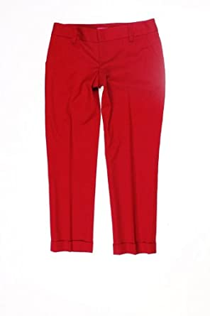 Alice + Olivia Womens Red Ankle Length Cuffed Dress Pants 6