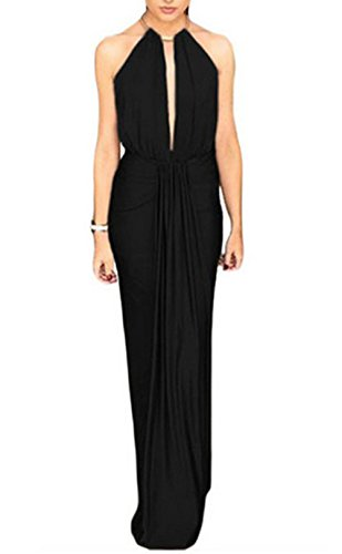 NuoReel Jeweled Halter Neckline Open Back Long Evening Dress One Size Black