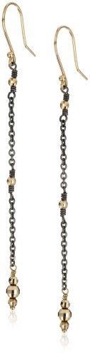Mizuki 14k Oxidized Single Strand Small Gold Bead Earrings