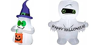 Gemmy Airblown Inflatable Small Outdoor Halloween Ghost Holding Treat Bag & Mummy Kid Friendly 3.5' Tall from gemmy