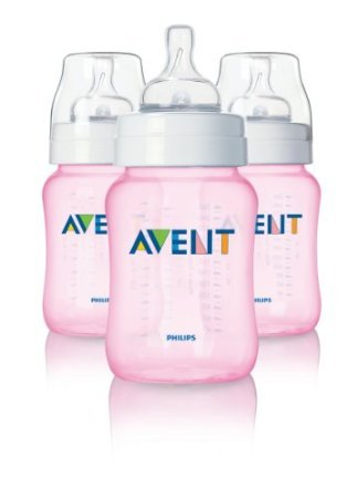 Philips Avent 9 Ounce Bpa Free Classic Polypropylene Bottles, 3-Pack, Pink front-22368