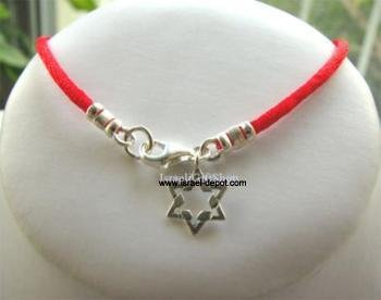 Sterling Silver Kabbalah Red String Bracelet Magen David Small