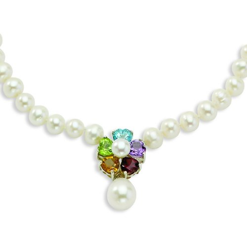 Silver Flower Gemstone/6-6.5mm FW Cult Pearl Necklace. 18in long Chain.