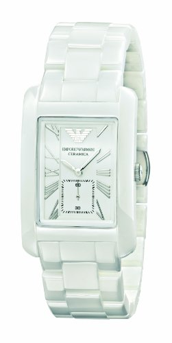 Emporio Armani White Ceramic Rectangular Ladies Watch - AR1408