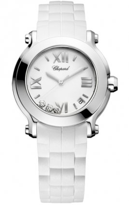 Chopard Women's 278475-3016 Happy Sport Round Diamond White Dial Watch
