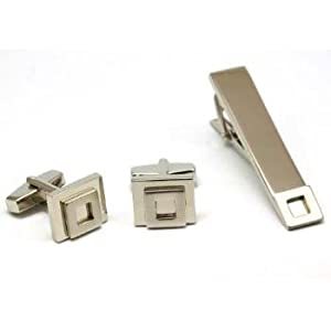Artamis Silver Tone Metal Gents Cufflinks and Tie Bar Set