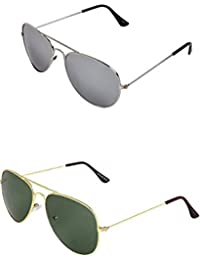 SHEOMY COMBO OF STYLISH SILVER MERCURY AVIATOR GOGGLES AND GOLDEN GREEN AVIATOR SUNGLASSES WITH 2 BOX