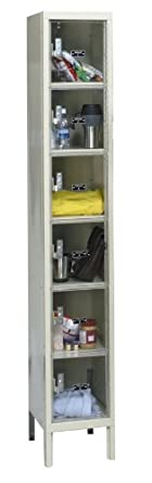 "Hallowell USVP1228-6PT Safety-View Plus Locker, 12"" Width x 12"" Depth x 78"" Height, 6-Tier, 1-Wide, Knock-Down, 729 Parchment"
