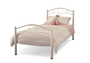 Alexia - Girl Single Bed Frame - Waved Bars Heart Details - Metal - White