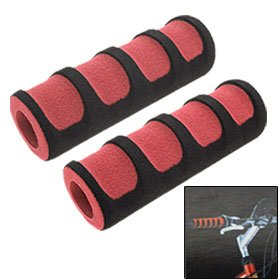 Como Pair Road Bike Bicycle Foam Handle Bar Grips Black and Red