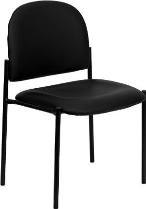 Flash Furniture BT-515-1-VINYL-GG Black Vinyl Comfortable Stackable Steel