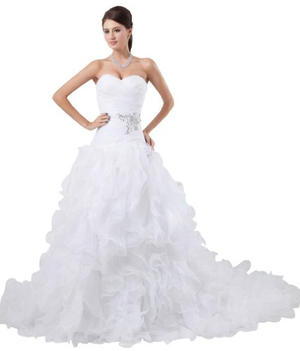 GEORGE BRIDE Goddess Latest Design Luxury Strapless Organza and Satin Wedding Dress Size 2 White