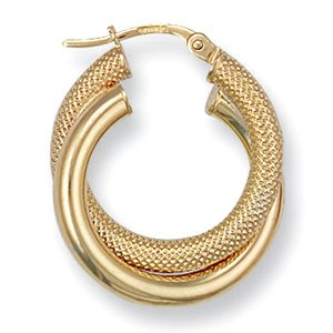 9ct Yellow Gold 20mm Fancy Double Hoop Earrings