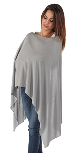 BambooMama Bamboo Breastfeeding Scarf - Pebble Grey - Discreet Nursing Cover and Scarf in One - 1