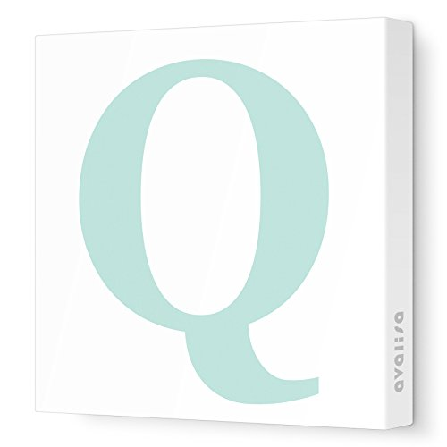 "Avalisa Stretched Canvas Upper Letter Q Nursery Wall Art, Aqua, 18"" x 18"" - 1"