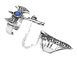 Spike & Chain Skulls Crystal Axe Pewter Ring