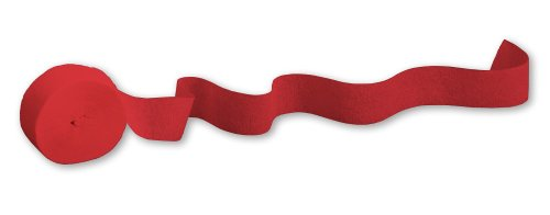 Creative Converting Touch of Color Crepe Paper Streamer Roll, 500-Feet, Classic Red