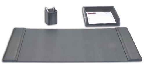 Genuine Top-Grain Black Leather 3-Piece Desk Set