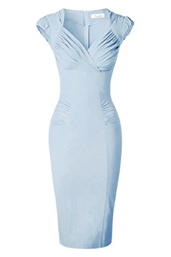 Newdow Lady's 50s Vintage V-neck Capsleeve Pencil Dress (Large, Light Blue)