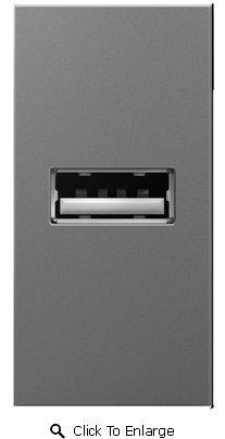 Legrand Adorne USB Outlet, 1-Module Magnesium ARUSBM4