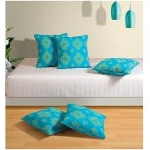 Swayam Drape And Dream Printed 5 Piece Cushion Cover Set - Turquoise (CC245-6302)