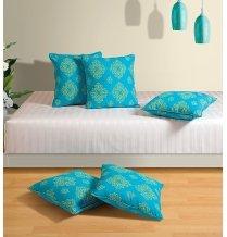 Swayam Drape And Dream Cotton 5 Piece Cushion Cover Set - Turquoise (CC125-6302)