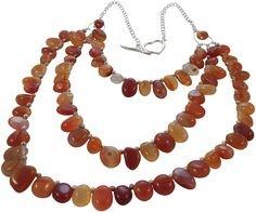 Semi Precious Multi Layer Necklace featuring Carnelian. Orange, Silver.