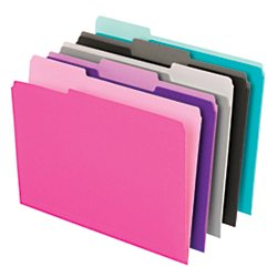 Office Depot Interior File Folders, 1/3 Tab Cut, Letter Size, Assorted, Box Of 100, OD421013ASST2