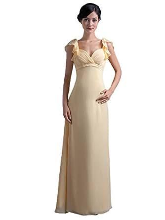 Vampal yellow chiffon empire waist long bridesmaid dress for Amazon cheap wedding dresses