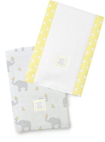 SwaddleDesigns Baby Burpies, Elephant & Yellow Chickies (Set of 2 Burp Cloths)