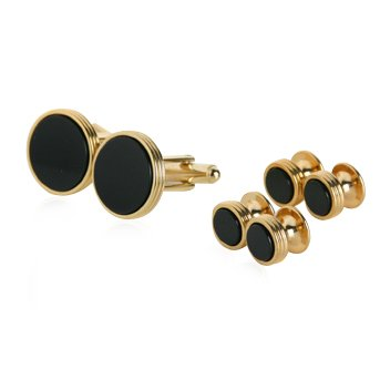 Black Onyx and Gold Cufflinks and Studs
