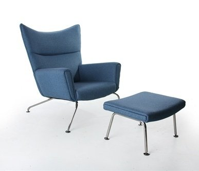 2 Pc Wing Chair & Ottoman Set (Blue)