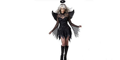 Sexy Black Angel of the Dark Mini Dress Halloween Fancy Dress Costume Night Party