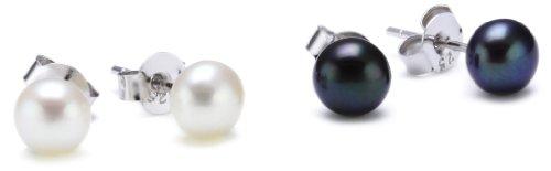 Sakura Pearl High Lustre 6.0-6.5 mm Round Freshwater Pearl Silver Stud Earrings