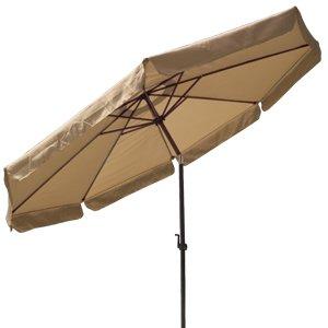 10 Ft Crank Tiltable Aluminum Tan Umbrella Patio Market Outdoor Deck Beach by Generic Brand