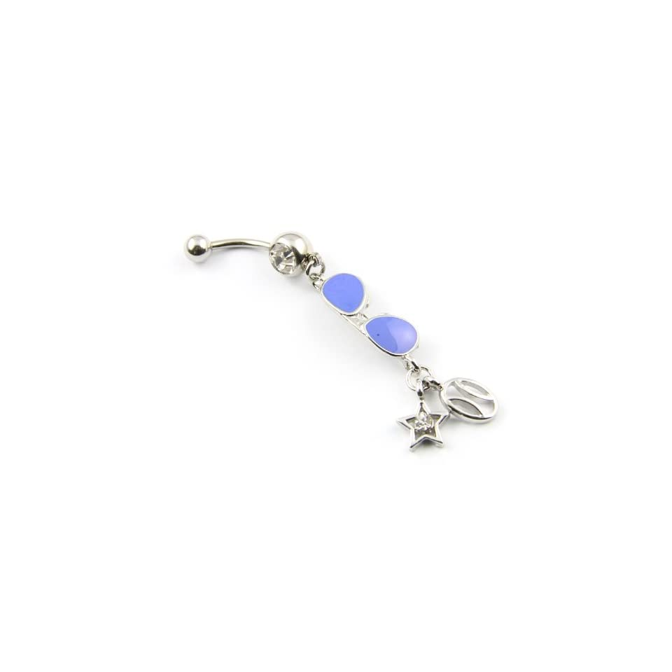 Surgical Steel 14g Blue Glasses Dangle with Star Ball Pendant Navel Belly Button Ring Barbell Piercing