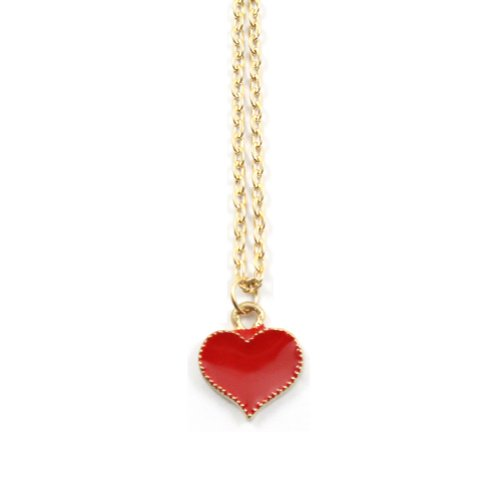 Zehui Fashion Red Korean Style Lovely Cute Love Heart Alloy Necklace