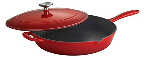 Tramontina Enameled Cast Iron Covered Skillet, 12-Inch, Gradated Red