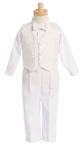 White Boys Embroidered Jacquard Christening Baptism Or Wedding Vest Set - Size 3T