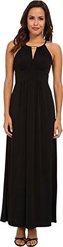 London Times Women'S Key Hole Halter Maxi Dress Black Dress 8