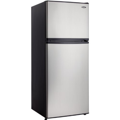 Energy Star 10 Cu. Ft. Frost-Free Mid-Size Refrigerator with Top Mount Freezer - Stainless Steel / Black