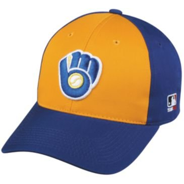 MLB Cooperstown ADULT Milwaukee BREWERS Gold/Royal Blue Hat Cap Adjustable Velcro TWILL Throwback