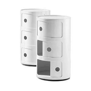 meuble de rangement rond componibili de kartell x 32cm diam 3 niveaux blanc. Black Bedroom Furniture Sets. Home Design Ideas