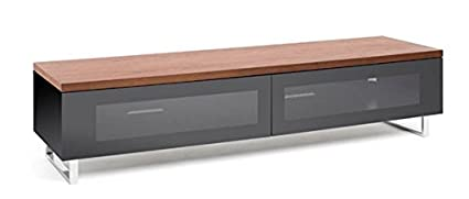 Techlink Panorama PM160W Walnut Top & Gloss Black TV Stand for up to 80 inch TVs with Cable Management