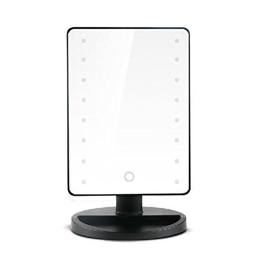 Belle Noir Salle de Bain Chambre Miroir Cosmétique / Maquillage Miroir avec 16pcs LED Lumières et une Base de Support