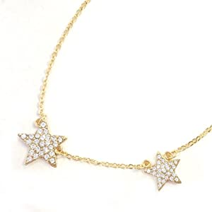 Gold Plated Petite Double Crystal Star Pendant Necklace