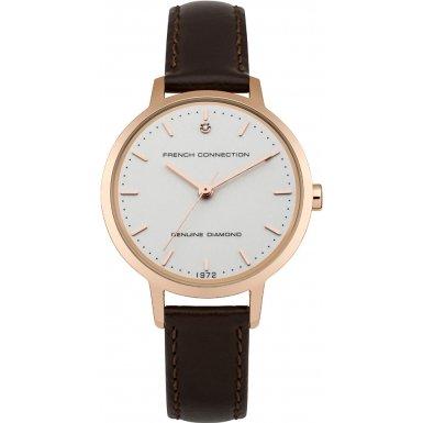 French Connection Reloj de cuarzo para mujer con blanco esfera analógica pantalla y correa de piel color marrón fc1279trg