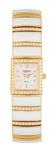 Jules Jurgensen Women's A172YW White Enamel Crystal Accented Watch